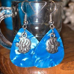 New mirrored FISH Dangle pierced earrings